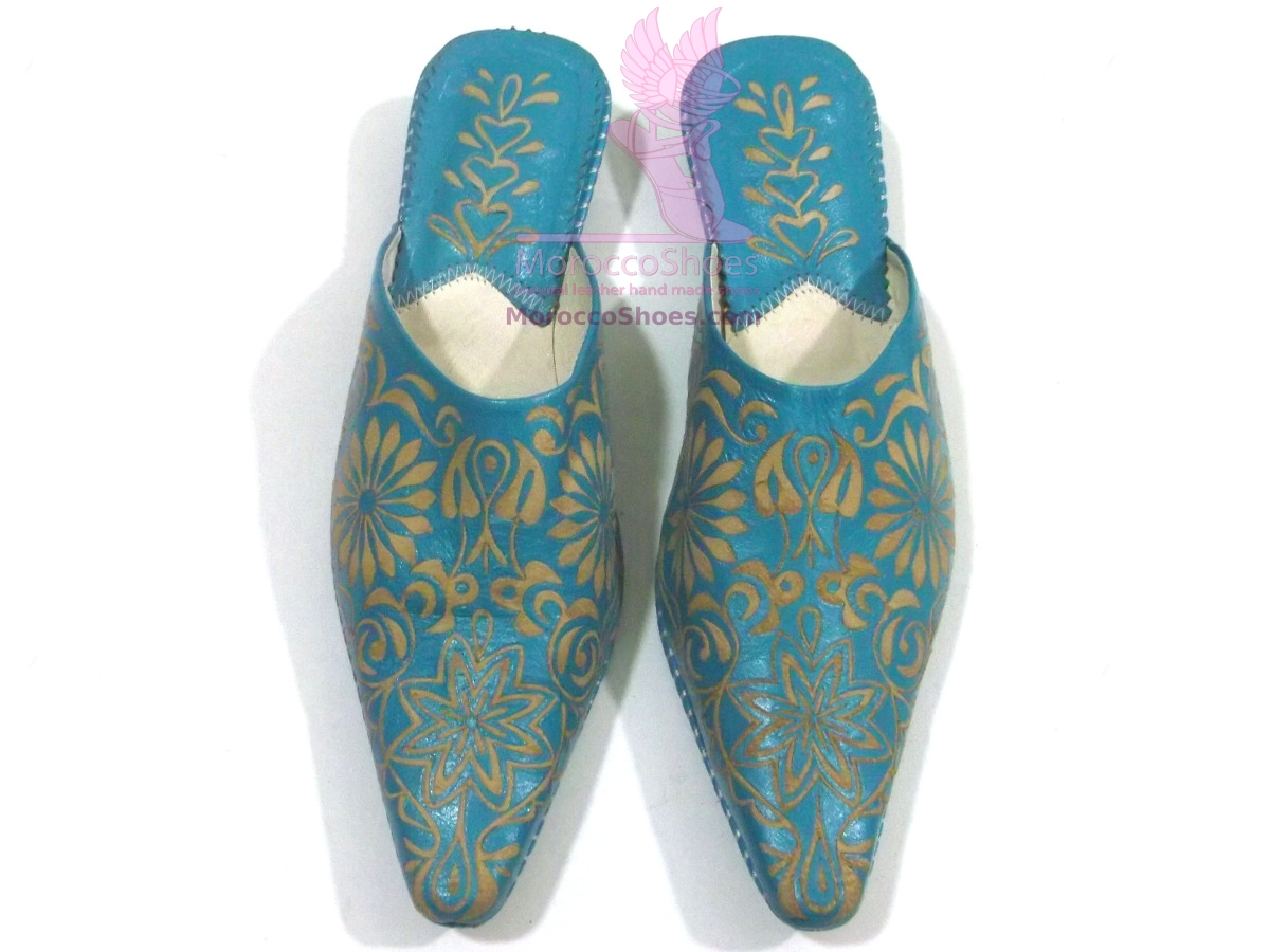 Embossed Leather Slippers