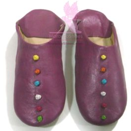 Leather Button Slippers