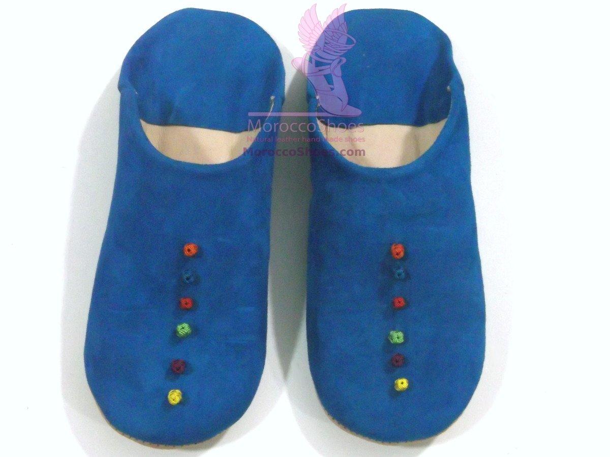 Sued Button Slippers