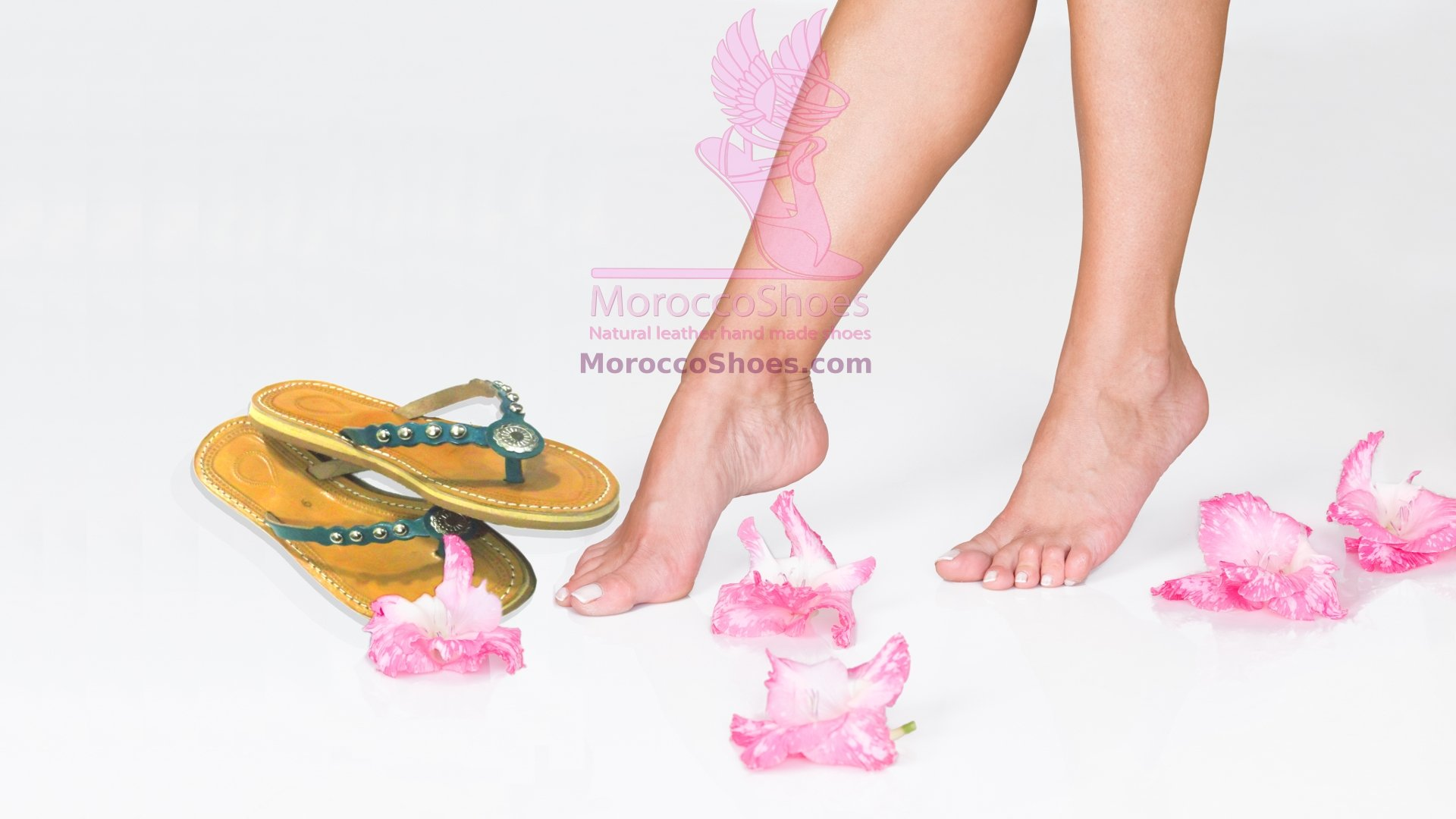 Sandals with beautiful feet and flowers